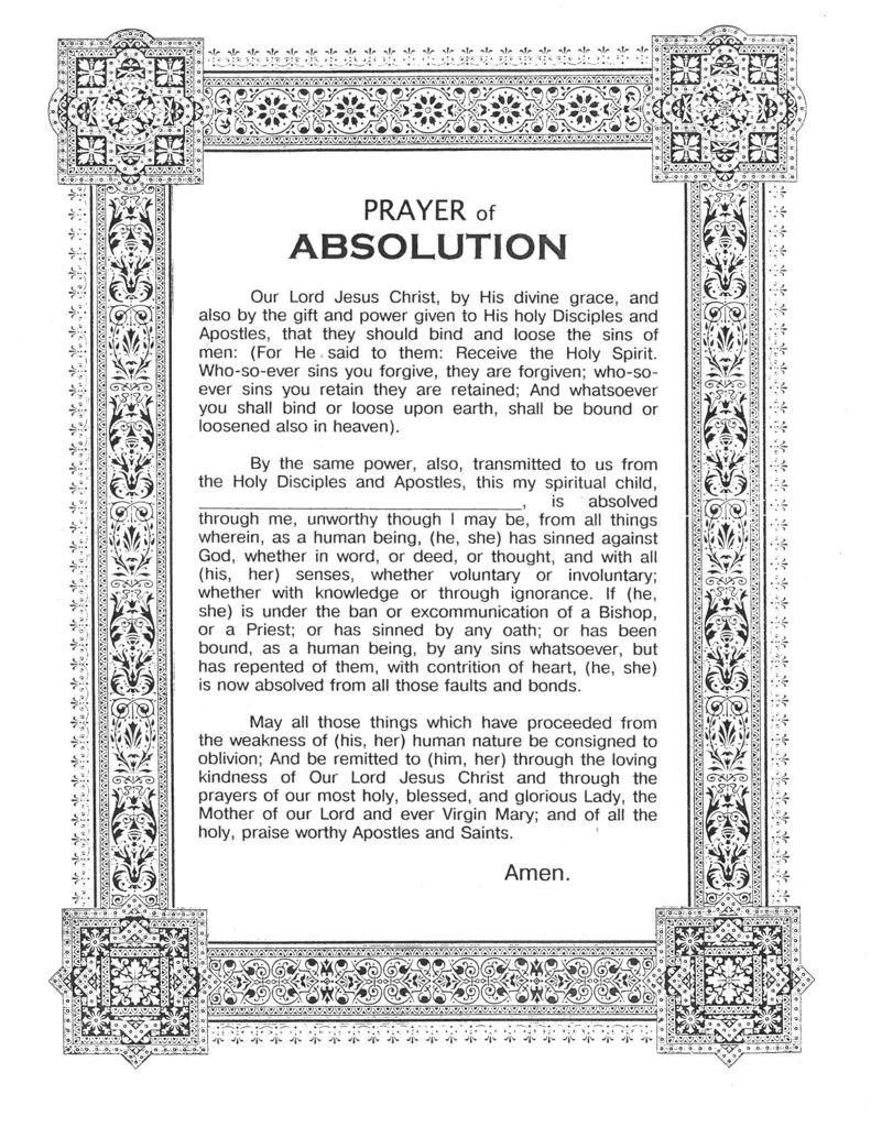 Ukrainian Orthodox Church of the USA - Prayer of Absolution